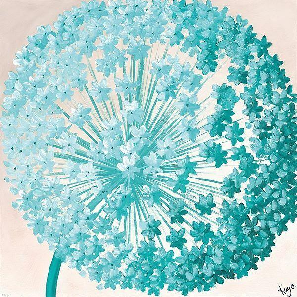 Kaye Lake  Giant Allium I Keilrahmen-Bild Leinwand Blaume Blüte Lauch türkis