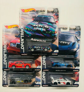 Hot-wheels-Car-Culture-Open-Track-set-of-5-in-stock-HKS-R32-190E-R8-AMG-NSX-GT3