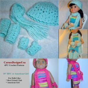 Doll Scarf Pattern 4pc Crochet Set Bfc Ink American Girl