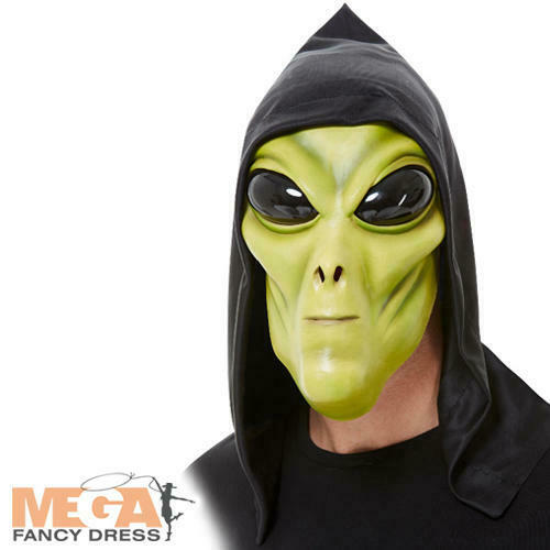 Green Alien Latex Mask Adults Fancy Dress Mens Space Halloween Costume Accessory