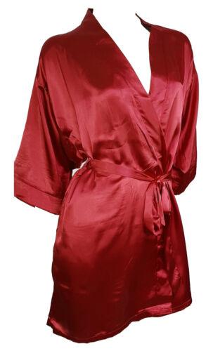 Morgenmantel Kimono Satin Bademantel Weinrot sehr edel