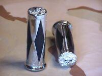 Shovelhead, Xl Chrome Diamond Handlebar Grips With Eagle End Cap. 1 Bars