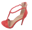 thumbnail 1 - Womens Ladies Red Faux Suede High Heel Party Sandals Shoes Size UK 4 5 6 7 8 New