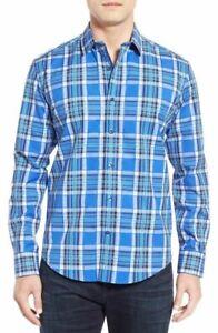 NWT-Bugatchi-Shaped-Fit-Plaid-Sport-Shirt-NWT-M-LAST-ONE-Blue