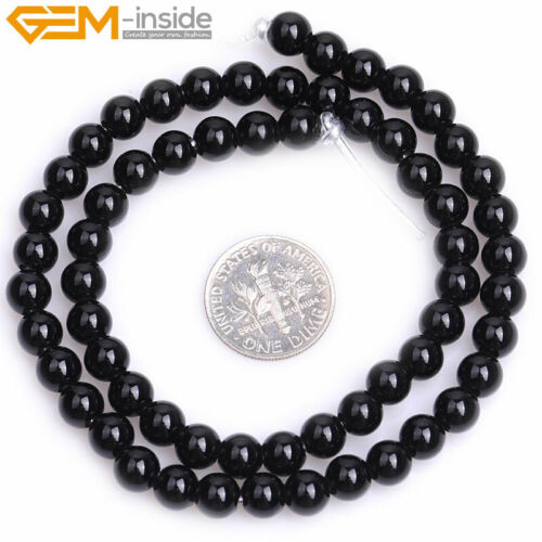 """Natural Gemstone Black Agate Big Hole Round Loose Beads for Jewelry Making 15/"""""""