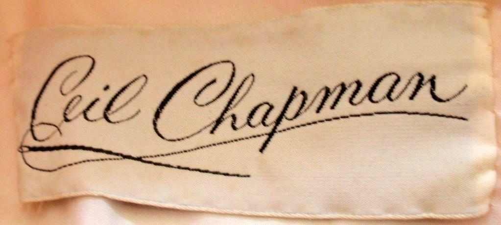 CEIL CHAPMAN 1960s Pink and White Silk Chiffon Go… - image 10