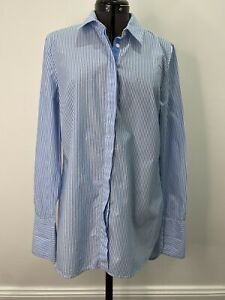 Sportscraft Striped Blue & White Cotton Shirt Size 8 EUC