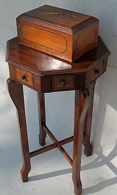 EXCEPTIONAL ANTIQUE FOLK ART  INLAID SMOKING STAND WITH MATCHED INLAID HUMIDOR