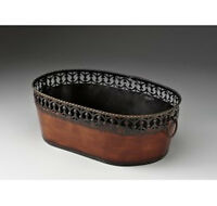 Gift Basket Bronze Metal Container Oval 13 Inch