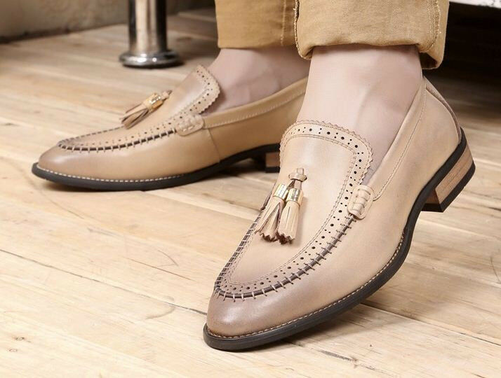 Men Dress Low Chunky Casual Leather Tassel Wingtip Loafers Oxford Brogues shoes