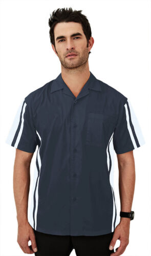 930 Tri-Mountain Men/'s Left Chest Pocket Contrast Side Panel Casual Camp Shirt