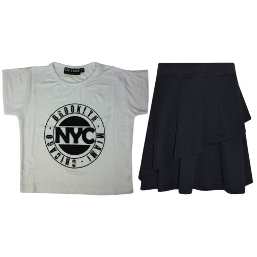 Kids Girls Tops NYC White Crop Top /& Double Layer Skater Skirt Set 7-13 Years
