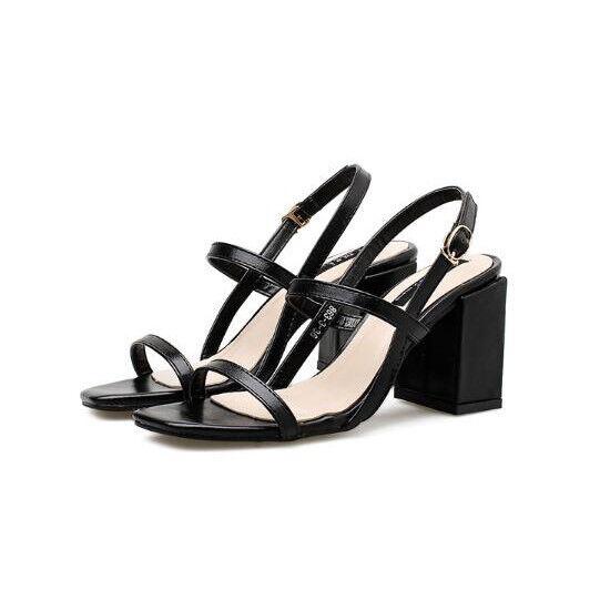 Sandalias cuadrado elegantes zuecos 9 cm negro zapatillas como piel CW401