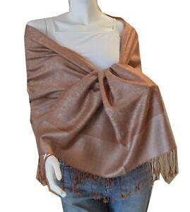 Soft-New-Pashmina-Paisley-Floral-Silk-Wool-Scarf-Wrap-Shawl-khaki-AN