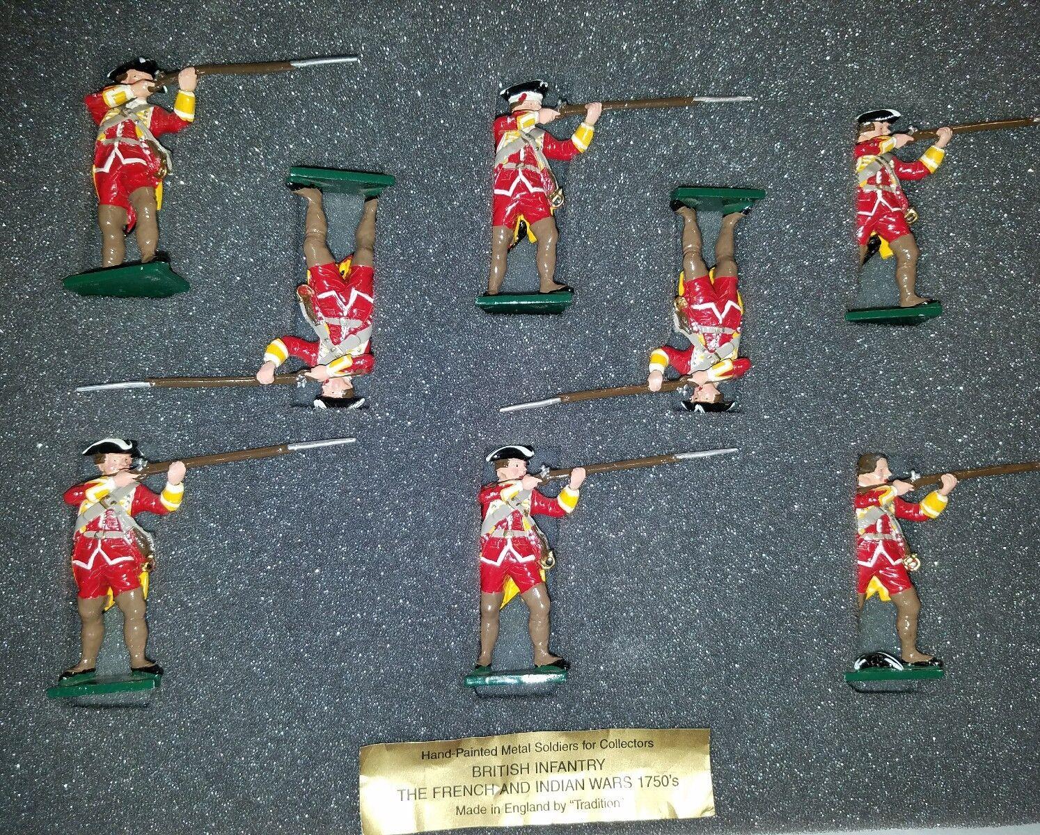 8 Soldati giocattolo di mettuttio 1750's fanteria inglese