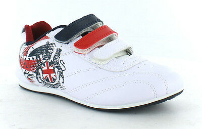 BOYS 08012 SPRINT CASUAL GREAT BRITAIN UNION JACK TRAINER RIPTAPE STRAPS