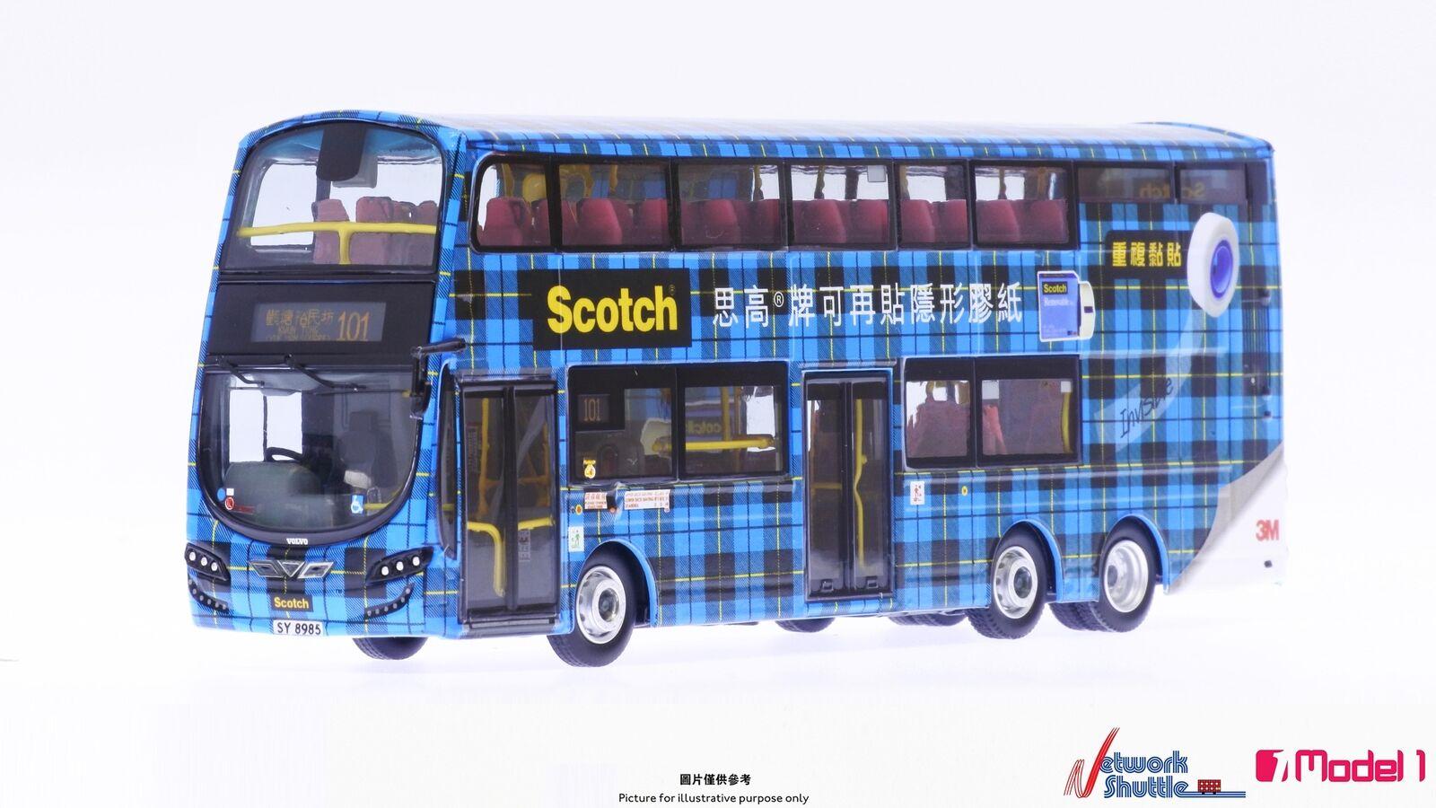 176 Hong KONG autobus modellololo 3M SCOTCH VOLVO B9TLnastro riutilizzabile BLU
