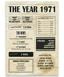 1 x A4 Vintage 1971 Poster Art Print - Newspaper 70's Facts Birthday Gift #29311