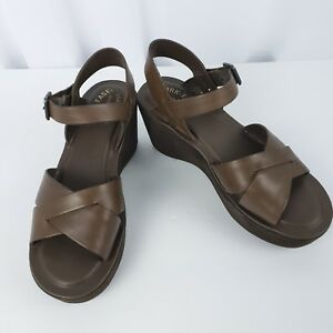 83717ab7dc7 Kork-Ease Leather Platform Wedge Sandals Size 8 Brown Ankle Strap ...