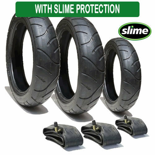 Set of Tyres and Tubes for a I CANDY APPLE 3 WHEELER Slime Protected