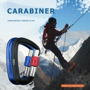 Carabiner-D-Shape-12KN-Rock-Climbing-Buckle-Security-Safety-Master-Lock-Outdoor