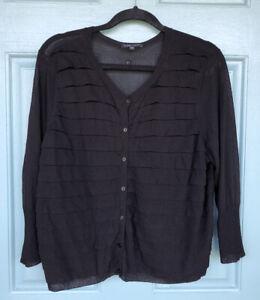 Eileen-Fisher-Women-039-s-XL-Black-Button-Down-Long-Sleeve-Cardigan-Ruffle-Detail