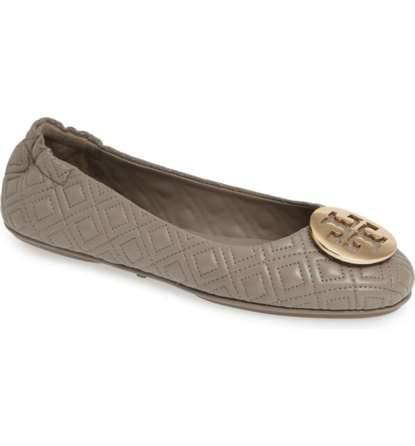 NIB Tory Burch Quilted Minnie Travel Ballet Leather Flat Dust Storm Gray US 7