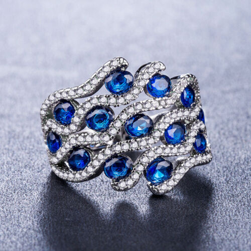 925 Silver Fashion Women Jewelry Gorgeous Blue Sapphire Wedding Ring Size 6-10