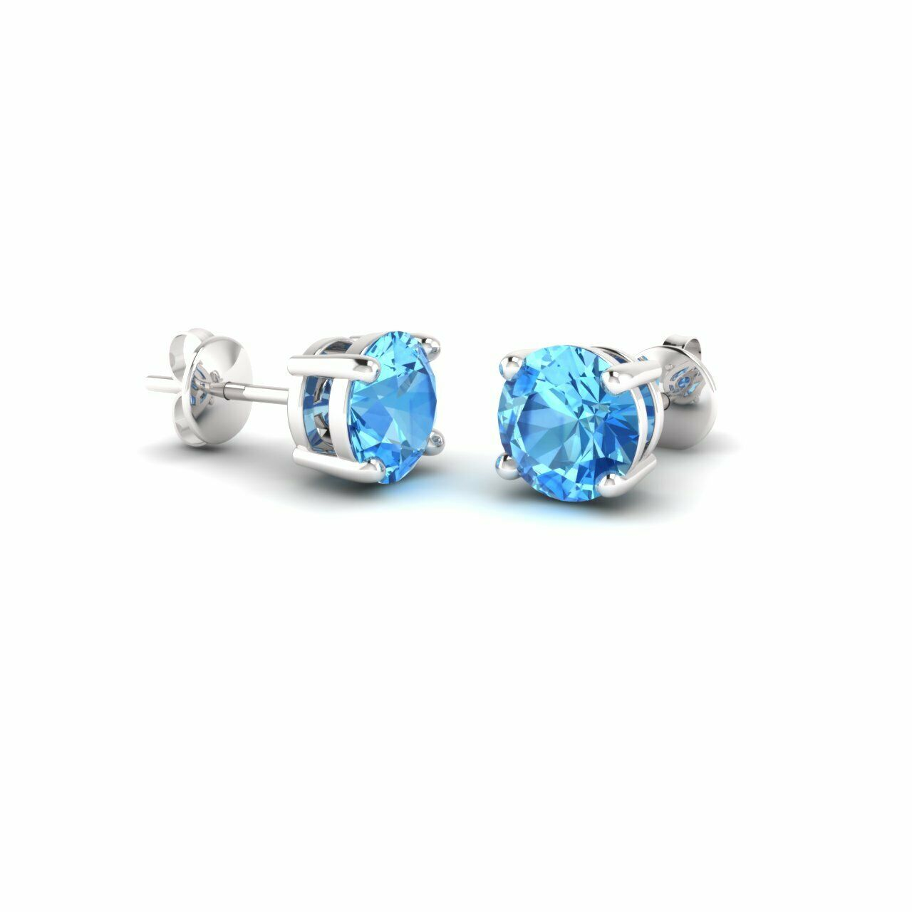 CERTIFIED 14K WHITE gold 0.96 CARAT blueE TOPAZ ROUND SOLITAIRE STUD EARRING