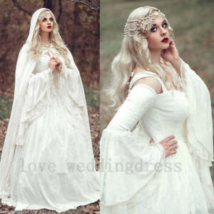 Details about Plus6,30W Celtic Medieval Bridal Gowns Bell Long Sleeves  Vintage Wedding Dresses