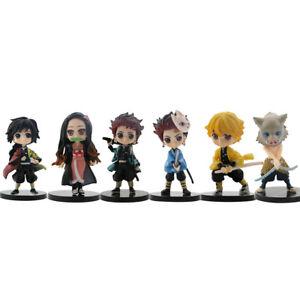 6Pcs Set Demon Slayer Kimetsu no Yaiba Action Figure Gifts Model Doll Kids Toy