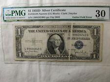 1935D $1 Silver Certificate Gutter Fold Error PMG Very Fine Fr #1613N Narrow