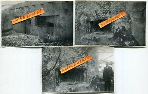 3 Fotos :  schwer beschossene Bunker in Rußland im 2.WK