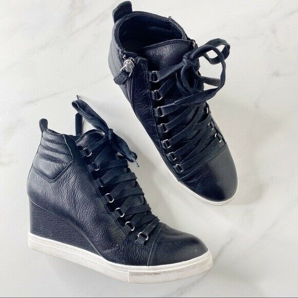 Linea Paolo Black Leather Lace Up Wedge Sneakers Size 7.5 ...