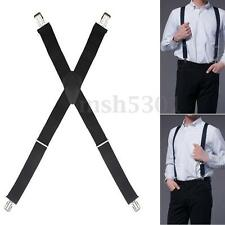 Mens Gentles Man CliP-On X-Shape Adjustable Trouser Braces Extend Suspenders