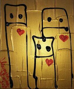 Malerei-Leinwand-30cm-Canvas-PAINTING-abstract-abstrakt-gold-art-love-liebe-bild
