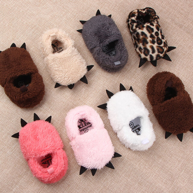 Baby Animal Paw Slippers Cute Monster Claw Warm Soft Plush Winter Indoor Shoes