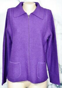 CROFT-amp-BARROW-Purple-Wool-Cardigan-Sweater-Medium-Long-Sleeves-Zipfront-Unlined