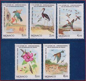 1991-MONACO-N-1754-1758-oiseaux-birds-set-MNH
