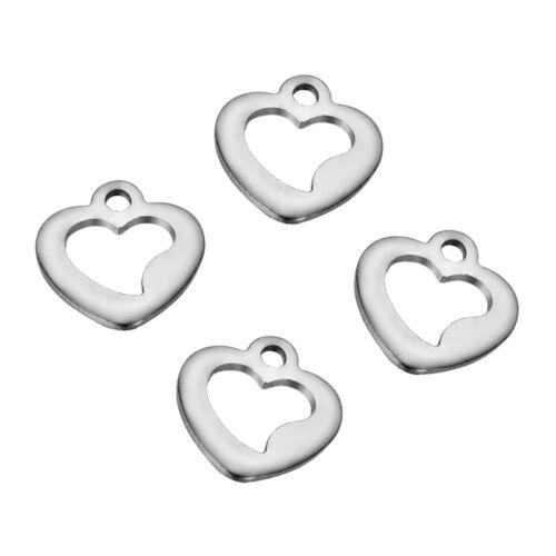 100 Pendentifs Breloques Creux Coeur Acier inoxydable Pr Collier Bracelet10x9mm