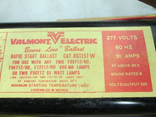 NIB Valmont Electric Bonus Line Rapid Start Ballast Cat 8G1151W 277V .91 Amp