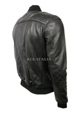 Mens Leather Jacket Black Quilted Classic RETRO BOMBER Soft REAL NAPA NB-OZ