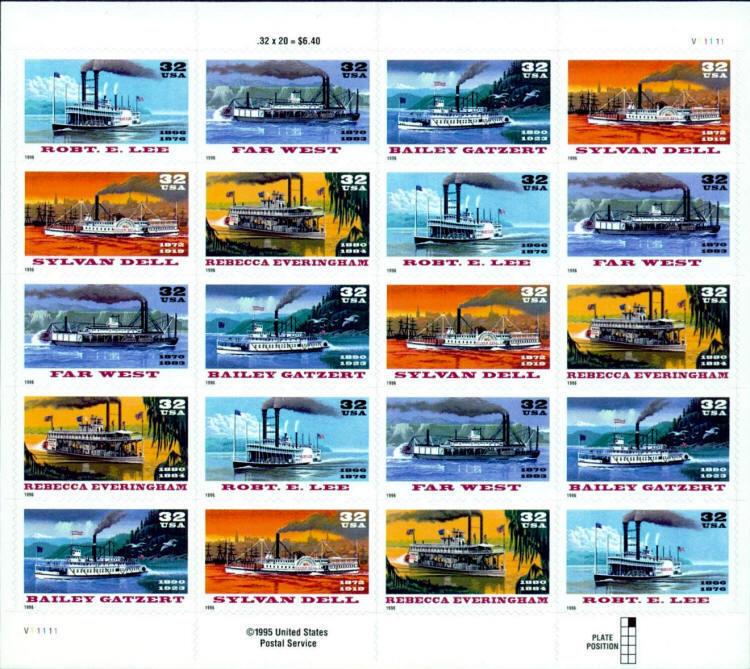 1996 32c Riverboats, Sheet of 20 Scott 3091-95 Mint F/V