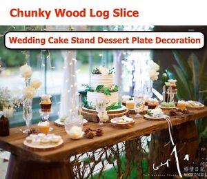 Wood Log Slice Outdoor Rustic Wedding Cake Stand Dessert Plate Table ...