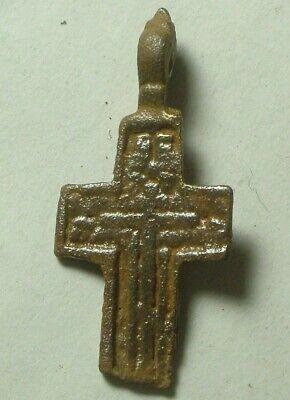 Rare Genuine Original Byzantine Medieval bronze cross applique artifact intact