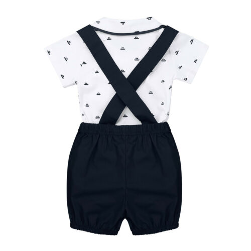 3pcs Newborn Kids Baby Boys Party Clothes Gentleman Shirt Tops+Shorts Outfit Set