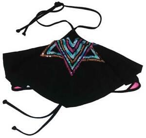 Victoria-039-s-Secret-Rose-Haut-Bikini-Ourlet-Triangle-Dos-Nu-Sequin-NOIR-XS-Aa-B