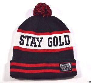 860b6de987577 Benny Gold STAY GOLD POM Navy Red White Striped Knit Cap Hat Beanie ...