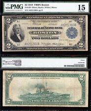 "Nice RARE Choice Fine+ 1918 $2 ""BATTLESHIP"" Boston FRBN Note! PMG 15! A8251360A"