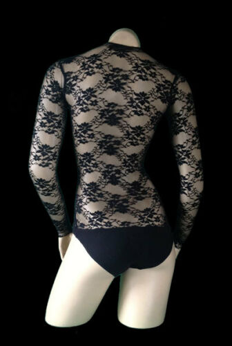 Belly Dance Body Stocking Black Supportive Stretch lace Sleeved Hold Control.
